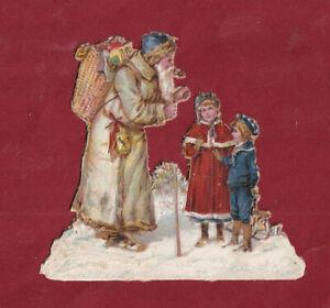 Très Rare Chromo Decoupis Hiver Magnifiques Bébés Filles & Père Noël +Cadeaux N2