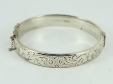 Vintage Floral Hinged Bangle Sterling Silver Ladies Bracelet 925 14.4g Fy68