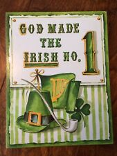 "1976 ""God Made The Irish #1"" Pressed Wood Wall Art Sign 9""x7"" St. Patricks Day"