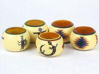 Set of 5 SOUTHWEST Style Painted Wood NAPKIN RINGS