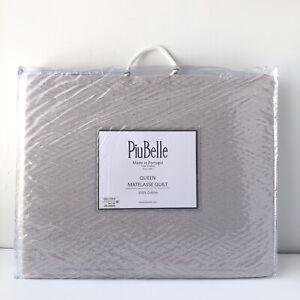 Piubelle Portugal Quilt Matelasse Blanket Coverlet Cotton Silver Grey Queen