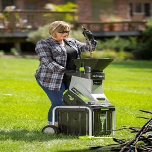 Powerful Garden Wood Chipper Electric Shredder Mulcher 15-Amp With Collector Bin