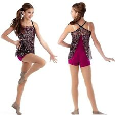 Lights Dance Costume Multi Color Sequin Tunic and Unitard Jazz Tap Child Small