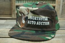 Vintage NORTHSTAR AUTO AUCTION Deer Camo Snapback Trucker Cap Hat Made In USA