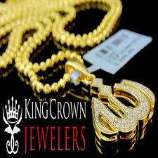 "Genuine Diamond 10K Yellow Gold Finish Mini Allah Pendant Charm 1.15"" + Chain"