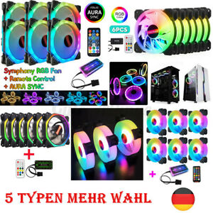 6*RGB Gehaeuseluefter Game Max 120mm PC Gehäuse Lüfter 5 Typen LED Ring Licht Q