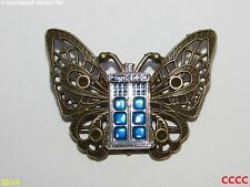 steampunk brooch badge pin butterfly tardis doctor who timelord scifi police box