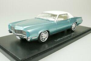 Cadillac Eldorado coupe 1967 Turquoise - White 1/43 Neo 49562 New