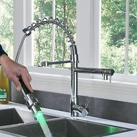 Chrome Finish Kitchen Sink Faucet LED Light Pull Down Sprayer Swivel Mixer Tap
