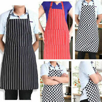 Mens Womens Cafe Restaurant Chef Kitchen Cooking Cook Bib BBQ Aprons + 2 Pockets