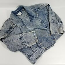 Vintage Denim Jacket Acid Wash Womens MED Jean Biker Grunge Collared Snap Front