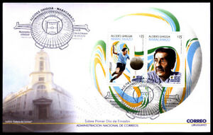 URUGUAY 2014 SPORTS FOOTBALL SOCCER WORLD CUP BRASIL 2014 ROUND S/S FDC YV BL100