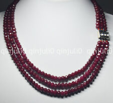"""Natural 4X6mm NATURAL RUBY FACETED BEADS NECKLACE 3 STRAND 18-20"""" JN1373"""
