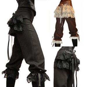 Medieval Renaissance Steampunk Women Gothic Pirate Pants Lace Viking Trousers