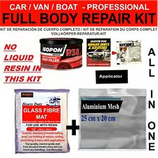 CAR BOAT BODY REPAIR KIT - FILLER, FIBRE GLASS MAT SHEET, ALUMINIUM MESH