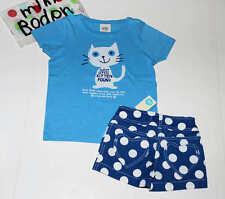 NEW Mini Boden Cat Kitten T-Shirt~Blue Polka Dot Heart Pocket Shorts 2pc Set 5-6