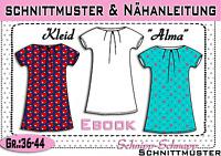 """Kleid """"Alma"""" pdf.Schnittmuster und Nähanleitung Gr.:36-44"""