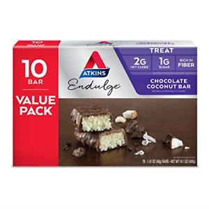 Atkins Endulge Treat Chocolate Coconut Bar. Rich Coconut & Decadent Chocolate.