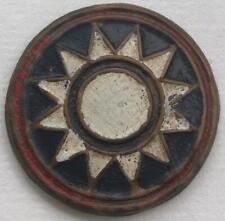 Nationalist Chinese Stamped Cap Badge w/ Red Border 1946-49 Civil War China CBI