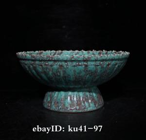 """7.2"""" China antique porcelain Qing Qianlong mark Furnace Jun Glaze Tall feet bowl"""