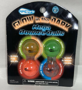 Oglo Sports Glow in the Dark Mega Bounce Balls Set of 4 Sealed in Pkg. 2012