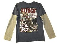 NEW BOYS EX STORE ATTACK OF THE DINOSAURS L/S T-SHIRT 4-14 YEARS Great Gift