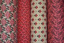 lot de 4 coupons de tissu patchwork MODA Crème et Rouge  24x55cm