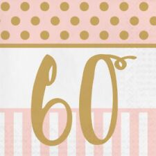 20 x Gold & Pink Chic 60th Napkins Ladies 60 Birthday Party Tableware Supplies