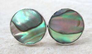 925 sterling silver 10mm PAUA SHELL Abalone New Zealand Round Flat Earrings GIRL