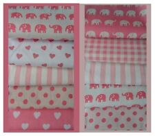 Nursery Fabric, ELEPHANTS, 25 Patchwork squares, PINKS, 10 cm, 2 choices, Value!
