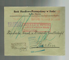 1931 Lodz Poland Bank Meter Registered Cover to Deutsche Bank Berlin Germany 2