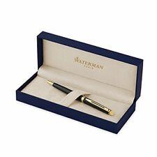 Waterman Hémisphère Ballpoint Pen Gloss Black 23k Gold Blue Ink Business Father