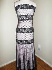 Vintage Roberta 5 6 Dress Pink Black Lace Overlay Strapless Prom Evening