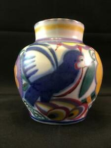 Early PoolePottery Red Clay Comical Bird (QB) Pattern Painter Marian Heath c1925