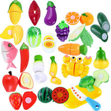 Kids Pretend Cutting Set Child Gift Role Play Kitchen Fruit Vegetable Food Toys