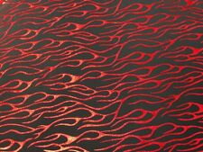 RED METALLIC FLAMES SPANDEX LYCRA FABRIC