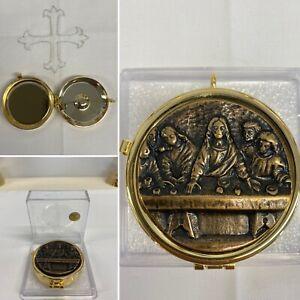 24K Gold Plated Pyx Box. Last Supper. 5.3cm Diameter, 1.8cm Height