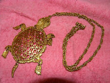 Vintage Turtle Necklace, Gold Tone movable head, feet, and tail