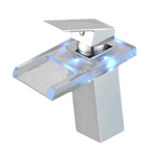 3Color Temperature Control LED Square Glass Faucet Sink Basin Water Tap Bathroom