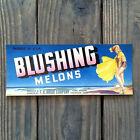 Vintage Original BLUSHING MELONS PINUP CRATE BOX CITRUS Label Unused NOS