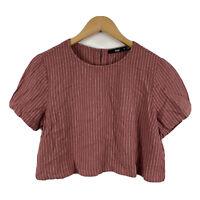 Sportsgirl Womens Crop Top Size 10 Brown Short Sleeve Striped