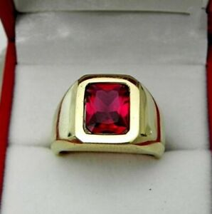 Natural Garnet Gemstone 22KK Solid Yellow Gold Men's Ring Jewelry 038T