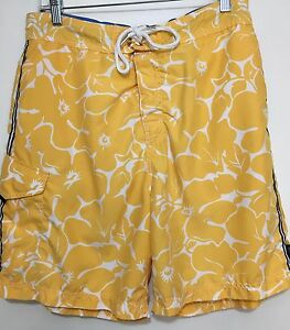 Nautica Mens L Yellow White Hibiscus Flowers Swim Trunks Board Shorts Lined