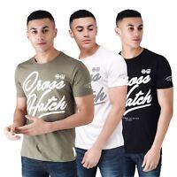 Mens Crosshatch T-Shirt Graphic Short Sleeved Crew Neck Tee Top Kinsmen