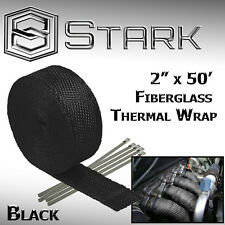 "2"" x 50FT Exhaust Header Fiberglass Heat Wrap Tape w/ 5 Steel Ties - Black (K)"