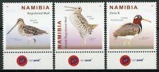 More details for namibia birds on stamps 2021 mnh snipes great african snipe 3v set + selvedge b