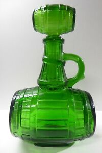 VINTAGE GREEN GLASS NAPOLEON BRANDY CHATELLE BOTTLE MID CENTURY GLASS ITALY