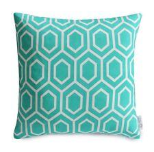 Aqua/Turquoise Geometric Cushion Cover Moroccan Lattice Teal Coastal Pillow