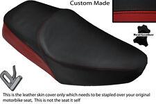 Negro Y Rojo Oscuro Custom Fits Yamaha Sr 125 Doble Cuero Funda De Asiento