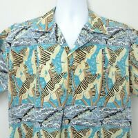Kahala Hawaiian Islands Men Shirt Medium Blue Green USA